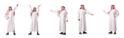 The arab man pressing virtual buttons. Arab man pressing virtual buttons stock photos