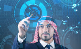 The arab man pressing virtual buttons in futuristic concept Royalty Free Stock Image