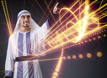 The arab man pressing virtual buttons in futuristic concept Royalty Free Stock Photo