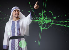 The arab man pressing virtual buttons in futuristic concept Royalty Free Stock Photos