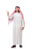 Arab man pressing virtual buttons isolated Royalty Free Stock Photos