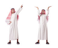 The arab man pushing virtual obstacle on white Stock Photo