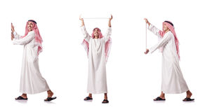 The arab man pushing virtual obstacle on white Royalty Free Stock Photography