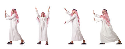 The arab man pushing virtual obstacle on white Stock Photos
