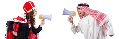 Arab man and queen are shouting through Royalty Free Stock Photo