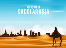 Arab Man Riding in Camel in Wide Desert Sands. In Middle East Going to City in Kingdom of Saudi Arabia. Editable Vector Illustration Stock Images