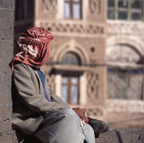 Arab man, seen from the back, with veil Royalty Free Stock Image