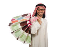 Arab man with shopping bags on white Royalty Free Stock Photo