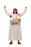 Arab man with shopping bags on white Stock Image