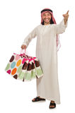 Arab man with shopping bags on white Royalty Free Stock Photography