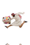 Arab man with shopping bags on white Stock Photo