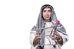 The arab man with shopping cart trolley isolated on white. Arab man with shopping cart trolley isolated on white Stock Photography