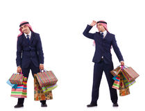 The arab man with shopping gifts on white Stock Photo