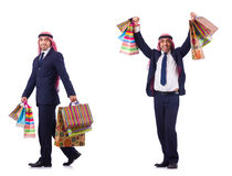 The arab man with shopping gifts on white Royalty Free Stock Image