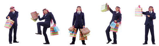 The arab man with shopping gifts on white Royalty Free Stock Photos