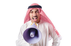Arab man shouting through loudspeaker Royalty Free Stock Image