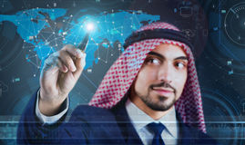 The arab man in social network concept Royalty Free Stock Images