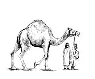 Arab man standing with a camel, Hand Drawn Sketch Vector illustr. Ation Royalty Free Stock Photography