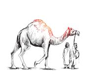 Arab man standing with a camel, Hand Drawn Sketch Vector illustr. Ation Stock Photos