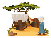 Arab man stands by the wagon Royalty Free Stock Photo