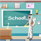 Arab Man teaching in a Classroom. Vector illustration Stock Images