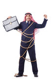 Arab man tied up with rope. On white Stock Photography