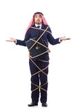 Arab man tied up with rope Stock Images