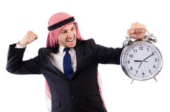 Arab man in time concept Stock Photography