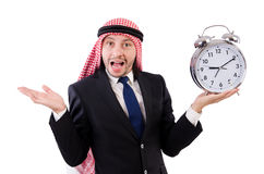 Arab man in time concept Royalty Free Stock Photos