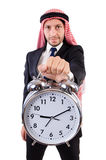 Arab man in time concept Stock Photo