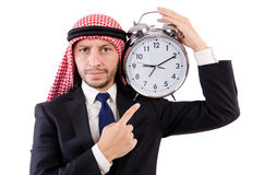 Arab man in time concept Stock Photos