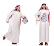 The arab man in time concept on white Royalty Free Stock Photography