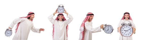 The arab man in time concept on white Stock Photo