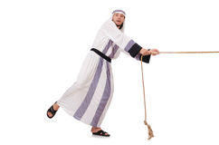 Arab man. In tug of war concept Royalty Free Stock Image