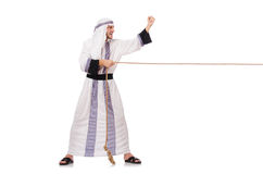 Arab man. In tug of war concept Royalty Free Stock Photos