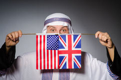 Arab man united kingdom flag Royalty Free Stock Images