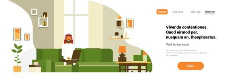 Arab man using laptop living room interior home modern apartment male relax concept flat horizontal banner copy space. Vector illustration stock illustration