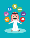 Arab Man Vector. Financial Security and Banking Solutions. Illustration of an Arab Man wearing traditional costume with technology gadgets and money. Vector and royalty free illustration