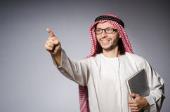 Arab man virtual button Royalty Free Stock Photography