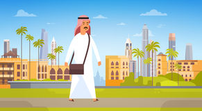 Arab Man Walking Modern City Building Cityscape Skyline Panorama Business Travel And Tourism Concept Stock Photography