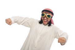Arab man wearing aviator glasses isolated on white Stock Photos