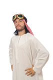 Arab man wearing aviator glasses isolated on white. The arab man wearing aviator glasses isolated on white Royalty Free Stock Images
