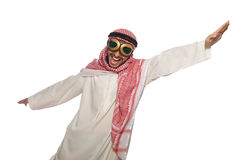 Arab man wearing aviator glasses isolated on white Stock Images
