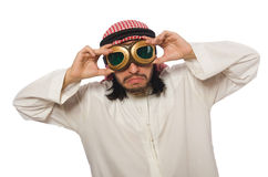 Arab man wearing aviator glasses isolated on white Stock Photography