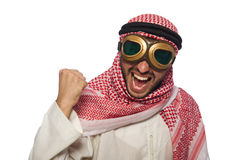Arab man wearing aviator glasses isolated on white. The arab man wearing aviator glasses isolated on white Royalty Free Stock Photography