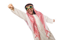 Arab man wearing aviator glasses isolated on white Stock Image