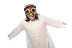 Arab man wearing aviator glasses isolated on white. The arab man wearing aviator glasses isolated on white Royalty Free Stock Image