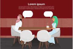 Arab Man And Woman Drinking Coffee In Modern Cafe Talking Over Copy Space Background. Flat Vector Illustration Royalty Free Stock Photography