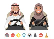 Arab man and arab woman driving a car. Silhouette of a woman and a man who sit behind the wheel. Muslim man and woman driving a car. Silhouette of a woman and a stock illustration