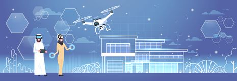 Arab Man And Woman Wearing 3d Glasses With Drone Over Smart House Background Virtual Reality Concept. Flat Vector Illustration Stock Photography